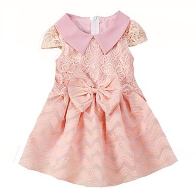 Χαμηλού Κόστους Φορέματα για κορίτσια-Βρέφος Κοριτσίστικα Καθημερινά Αργίες Ριγέ Φιόγκος Κοντομάνικο Βαμβάκι Πολυεστέρας Φόρεμα Ανθισμένο Ροζ / Χαριτωμένο
