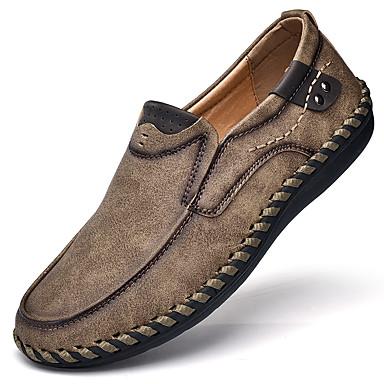Męskie Komfortowe buty Skóra nappa / Skóra bydlęca Wiosna Mokasyny i buty wsuwane Obuwie rowerowe / Spacery Czarny / Jasnobrązowy / Khaki