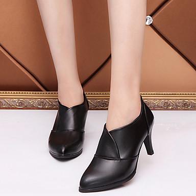 Talon Automne pointu Printemps Noir Talons Cuir Bout Chaussures Confort Polyuréthane 06601244 Chaussures Femme Rouge Aiguille à SqzTII