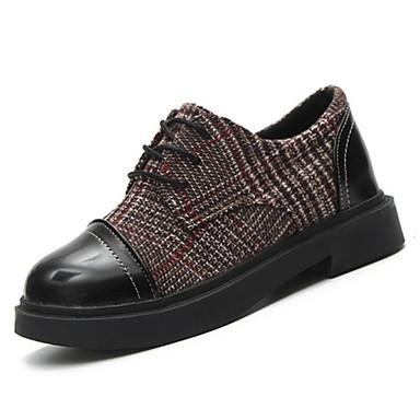 בגדי ריקוד נשים נעליים PU אביב / קיץ נוחות נעלי אוקספורד עקב נמוך בוהן עגולה שחור / חום