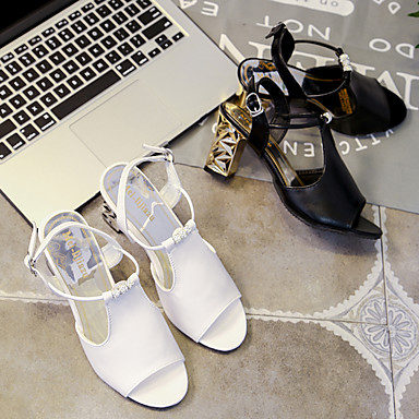 bloque Mujer Sandalias Confort Zapatos Verano Blanco Talón Negro de PU 06601261 1PqqFZHx0w