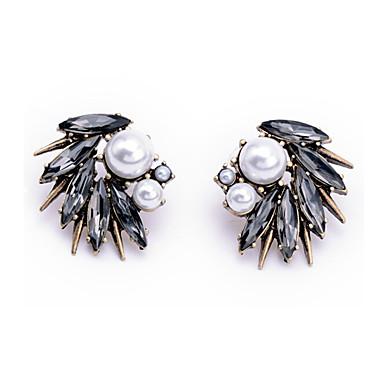 abordables Pendientes-Mujer Cristal Pendientes cortos damas Moda Cristal Perla Artificial Aretes Joyas Dorado Para Diario Noche