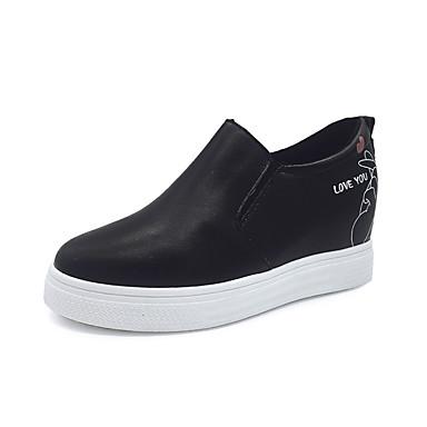 בגדי ריקוד נשים נעליים PU אביב / סתיו נוחות שטוחות עקב טריז לבן / שחור