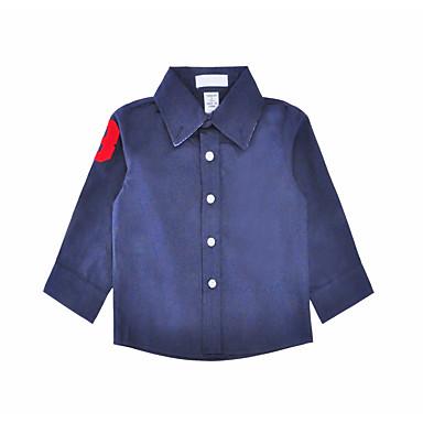 baratos Camisas para Meninos-Bébé Para Meninos Simples Diário Feriado Sólido Fashion Manga Longa Padrão Algodão Camisa Azul Marinha