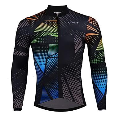 SPAKCT Per uomo Manica lunga Maglia da ciclismo - Nero Stampa reattiva Strisce Pop art Bicicletta Maglietta / Maglia, Asciugatura rapida Elastene polyster / Elasticizzato / Avanzato / Esperto