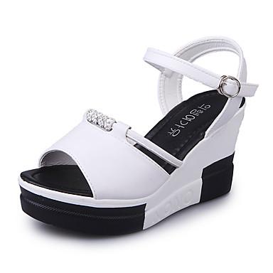 Mulheres Sapatos Borracha Verão Conforto Sandálias Caminhada Salto Plataforma Presilha para Ao ar livre Branco Preto