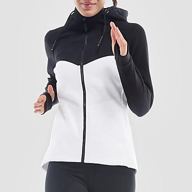 בגדי ריקוד נשים טלאים ג'קט לריצה - לבן, ורוד, אפור ספורט ג'קט יוגה, כושר וספורט, חדר כושר שרוול ארוך לבוש אקטיבי ייבוש מהיר