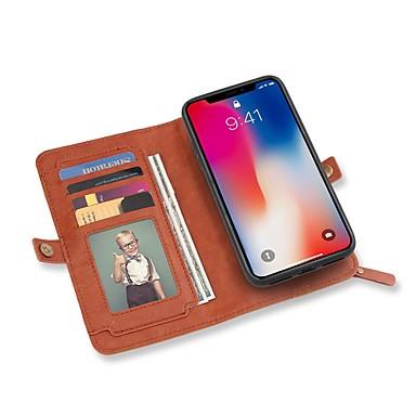 מגן עבור Apple iPhone X iPhone 8 מחזיק כרטיסים ארנק עם מעמד נפתח-נסגר כיסוי מלא צבע אחיד קשיח עור PU ל iPhone X iPhone 8 Plus iPhone 8