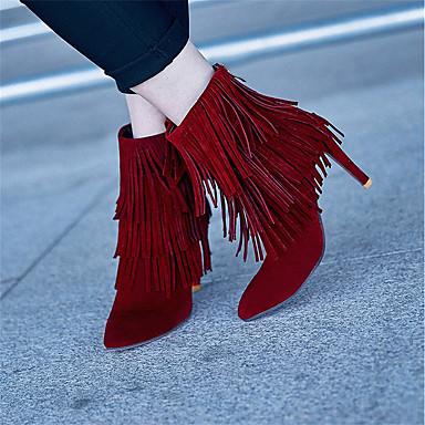 Hiver Mode Gland pointu Chaussures Similicuir Bottes Bottes mollet Bottes Aiguille Talon Bout Beige à Mi Noir Rouge la Femme 06569895 qEYxwq