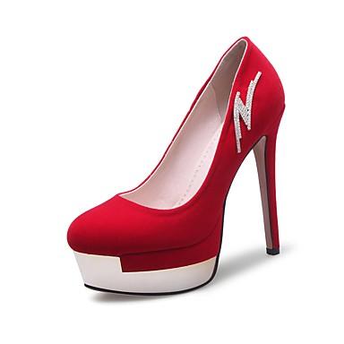 בגדי ריקוד נשים נעליים עור נובוק אביב / סתיו נוחות עקבים עקב סטילטו בוהן עגולה ריינסטון שחור / אדום / מסיבה וערב