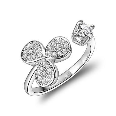 Χαμηλού Κόστους Μοδάτο Δαχτυλίδι-Γυναικεία Cubic Zirconia Δέσε Ring Ζιρκονίτης Επάργυρο Λουλούδι Φιογκάκι Κλασσικό Μοδάτο Δαχτυλίδι Κοσμήματα Ασημί Για Γάμου Βραδινό Πάρτυ Ρυθμιζόμενο