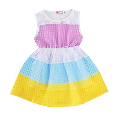שמלה כותנה פוליאסטר קיץ ללא שרוולים יומי חגים פסים הילדה של חמוד סגול פוקסיה