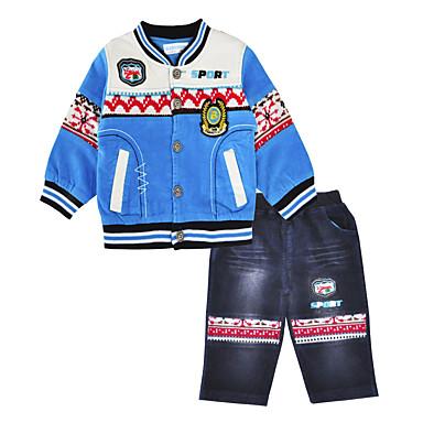 סט של בגדים כותנה אביב סתיו שרוול ארוך יומי ספורט דפוס בנים יום יומי פול