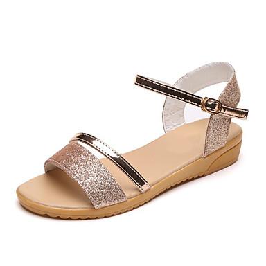 Mulheres Sapatos Couro Ecológico Verão Conforto Sandálias Sem Salto para Ao ar livre Dourado Prata