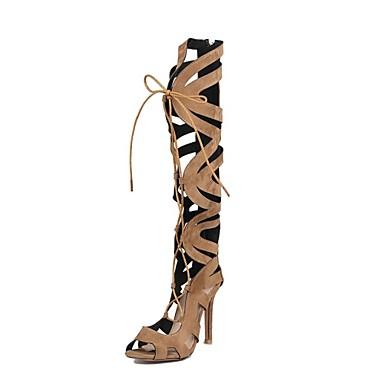 povoljno Ženske cipele-Žene Sandale Na vezanje Stiletto potpetica Otvoreno toe Filc Čizme do koljena Inovativne cipele / Gladijatorke Ljeto Crn / Braon / Crvena / Zabava i večer