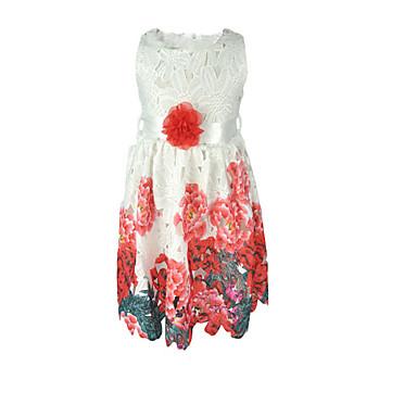 Χαμηλού Κόστους Φορέματα για κορίτσια-Παιδιά Κοριτσίστικα Βίντατζ Βασικό Καθημερινά Σχολείο Μονόχρωμο Φλοράλ Ζακάρ Κεντητό Στάμπα Αμάνικο Βαμβάκι Ακρυλικό Πολυεστέρας Φόρεμα Λευκό / Χαριτωμένο