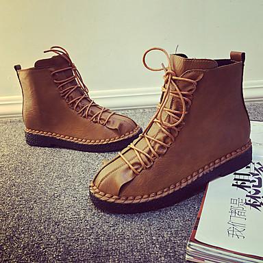 Women's PU(Polyurethane) Fall / Winter Comfort Boots Flat Heel Round Toe Mid-Calf Boots Zipper Black / Brown