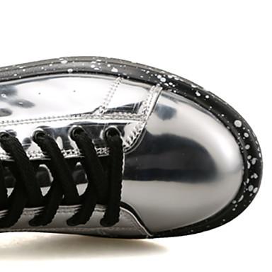 Femme Chaussures Cuir Verni Printemps / Automne Confort Basket Talon Talon Talon Plat Bout rond Noir / Argent / Rouge   Stocker  a37358