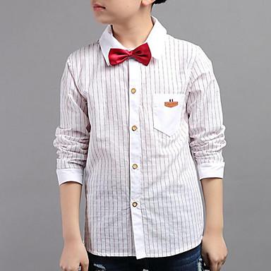 baratos Camisas para Meninos-Infantil Para Meninos Casual Diário Listrado Listas Manga Longa Padrão Camisa Branco