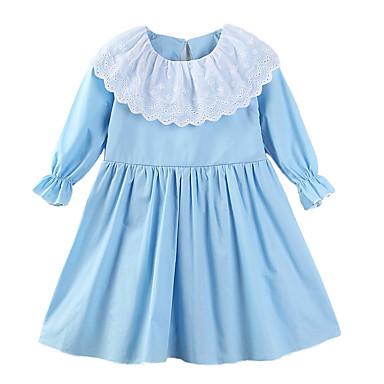 שמלה כותנה פוליאסטר אביב קיץ שרוול ארוך יומי ליציאה דפוס הילדה של חמוד יום יומי פול