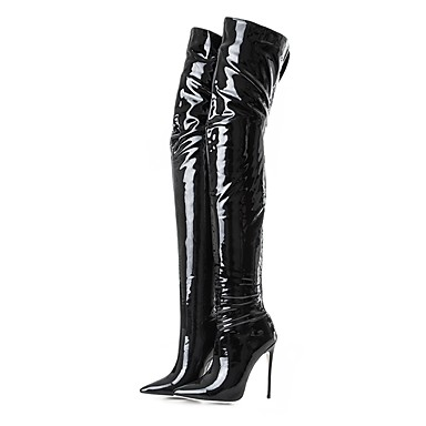 Women s Fashion Boots Patent Leather Spring   Fall   Winter Classic Boots  Stiletto Heel Pointed Toe Thigh-high Boots Black   Party   Evening 488e45517518