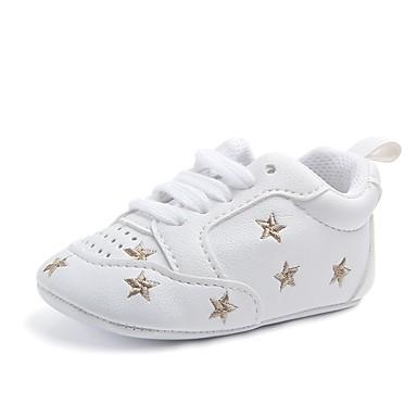 voordelige Babyschoenentjes-Meisjes Comfortabel / Eerste schoentjes / Wiegschoenen Kunstleer Platte schoenen Elastiek Zwart / Zilver / Roze Lente / Herfst