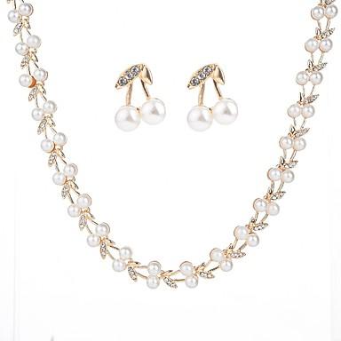 בגדי ריקוד נשים סט תכשיטים - דמוי פנינה Leaf Shape מתוק, אופנתי לִכלוֹל זהב עבור Party / רשמי / עגילים