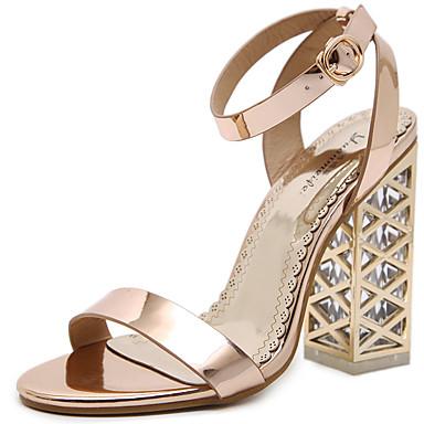 Mujer Zapatos Cuero Verano Confort / Pump Básico Sandalias Tacón Cuadrado Dorado / Negro qOJJTUae4