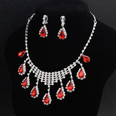 בגדי ריקוד נשים סט תכשיטים - פרח ארופאי, אופנתי לִכלוֹל אדום עבור חתונה / יומי