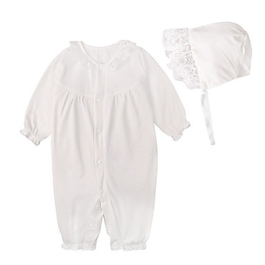 366dd8c64 Baby Girls' Simple / Active Daily / Holiday Solid Colored Lace Long Sleeve  Cotton Overall & Jumpsuit White