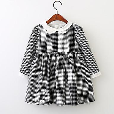 שמלה כותנה אביב קיץ שרוול ארוך ליציאה בית הספר אחיד משובץ דמקה סרוג הילדה של פשוט וינטאג' לבן