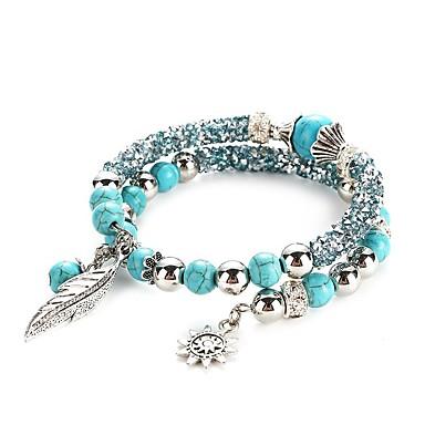 abordables Bracelet-Bracelets Plusieurs Tours Femme Turquoise Forme de Feuille Spot Multicouleur dames Classique Bracelet Bijoux Turquoise pour Quotidien