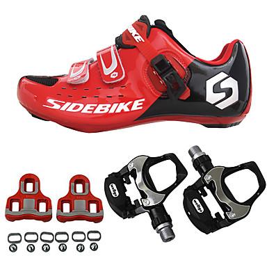 رخيصةأون أحذية ركوب الدراجة-SIDEBIKE أحذية لركوب الدرجات مزودة ببدال وماسك Road Bike Shoes نايلون ألياف الكربون متنفس توسيد خفيف جدا (UL) ركوب الدراجة أحمر وأسود رجالي أحذية الدراجة / سريع جاف