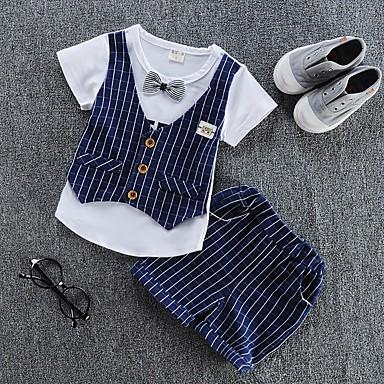 סט של בגדים כותנה קיץ שרוולים קצרים יומי פסים בנים יום יומי אודם כחול נייבי