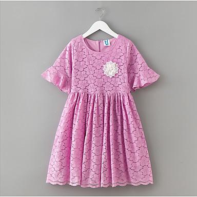 שמלה שרוולים קצרים תחרה אחיד פשוט בנות ילדים