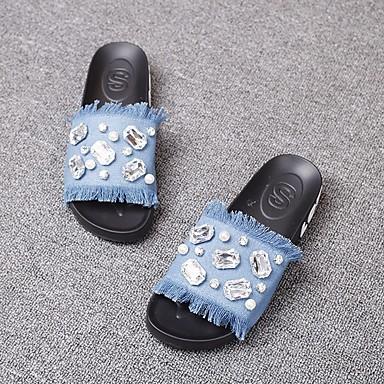 בגדי ריקוד נשים נעליים דמוי עור אביב / סתיו נוחות סנדלים שטוח שחור / כחול כהה / כחול בהיר