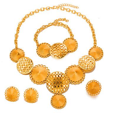 בגדי ריקוד נשים סט תכשיטים - ציפוי זהב הצהרה, אופנתי לִכלוֹל זהב עבור חתונה Party