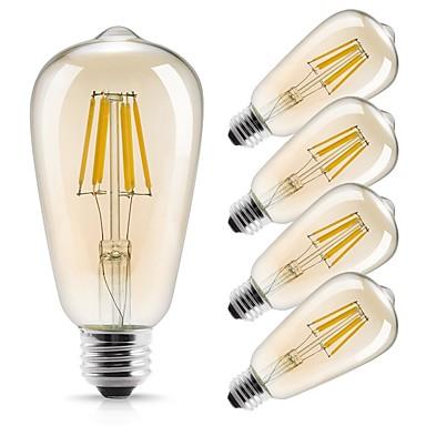 billige Elpærer-5pcs 6 W LED-glødepærer 560 lm E26 / E27 ST64 6 LED perler COB Dekorativ Varm hvit 220-240 V