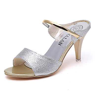 Women's Shoes PU(Polyurethane) Summer Comfort Flats Low Heel Round Toe Chain Gold / Black / Silver