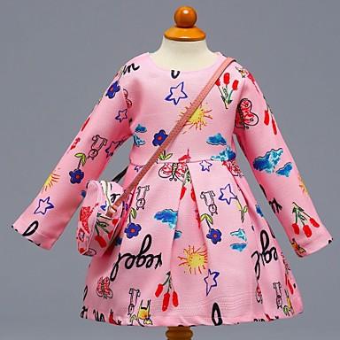 שמלה כותנה אביב קיץ שרוול ארוך יומי בית הספר פרחוני קולור בלוק הילדה של חמוד יום יומי ורוד מסמיק