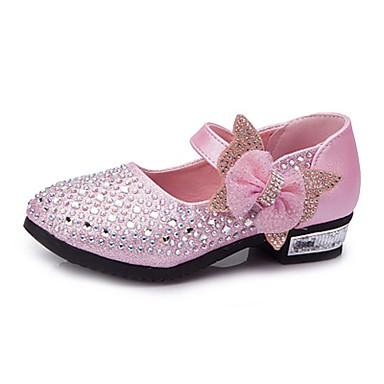 povoljno Cipele za vjenčanje-Djevojčice Umjetna koža Cipele na petu Mala djeca (4-7s) / Velika djeca (7 godina +) Udobne cipele / Obuća za male djeveruše Štras / Mašnica / Svjetlucave šljokice Srebro / Plava / Pink Proljeće