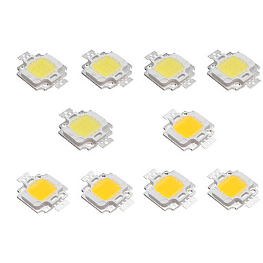 billige belysning Tilbehør-10pcs 10w høy lyse LED lys lampe chip dc 9-12v hvit varm hvit