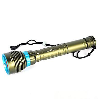 baratos Luzes & Lanternas de Acampamento-Lanternas LED Lanternas de Mão 10000 lm LED LED Emissores 1 Modo Iluminação Impermeável Profissional Anti-Choque Campismo / Escursão / Espeleologismo Mergulho / Náutica Caça Verde Floresta