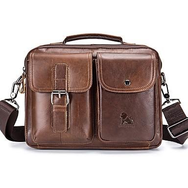 cheap Crossbody Bags-Unisex Bags Cowhide Shoulder Bag Zipper Black / Coffee / Brown
