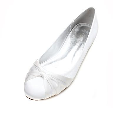 de Talon Satin Chaussures Bleu en 06595131 Eté Printemps mariage Femme Chaussures de Ballerine Satin Confort Bout Fleur Ruban Plat rond zwZTnAqUd