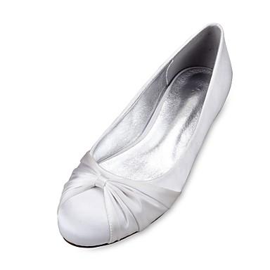 Χαμηλού Κόστους Πρώτα στις Πωλήσεις-Γυναικεία Γαμήλια παπούτσια Επίπεδο Τακούνι Στρογγυλή Μύτη Σατέν Λουλούδι / Κορδέλα Σατέν Ανατομικό / Μπαλαρίνα Άνοιξη / Καλοκαίρι Σκούρο μπλε / Ασημί / Κρύσταλλο / EU40