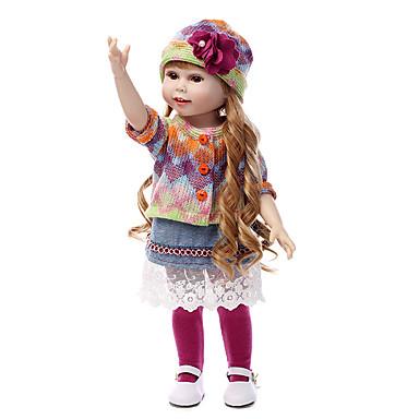 NPKCOLLECTION Lalki Reborn Dziewczynki 18 in Silikony całego ciała Silikon - Noworodek Jak żywy Śłodkie Bezpieczne dla dziecka Nietoksyczne Ręcznie nakładane rzęsy Dzieciak Unisex / Dla dziewczynek