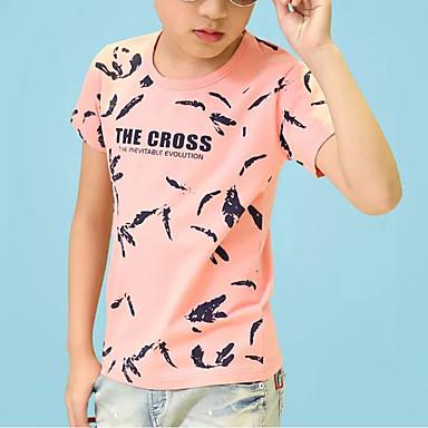 Brzdąc Dla chłopców Aktywny Codzienny Nadruk Nadruk Krótki rękaw Regularny Bawełna T-shirt Czarny 130