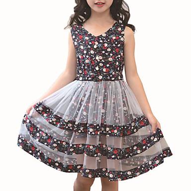 Dzieci Dla dziewczynek Aktywny Kwiaty / Patchwork Patchwork Bez rękawów Sukienka