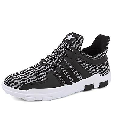 Homens sapatos Couro Ecológico Primavera Outono Solados com Luzes Conforto Tênis Cadarço para Casual Preto Preto e Branco Cinzento/Branco